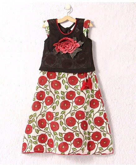 Petite Kids Block Print Skirt With Applique Top - Black