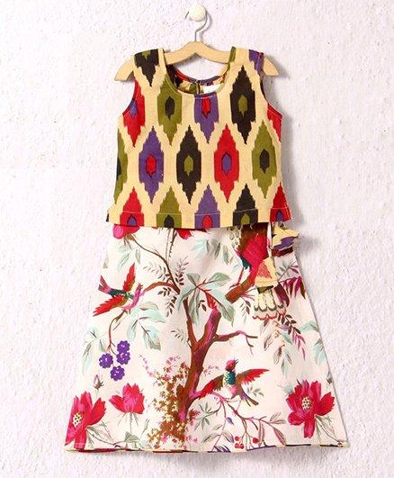 Petite Kids Ikat Print Top & Jaipur Cotton Skirt - Multicolor