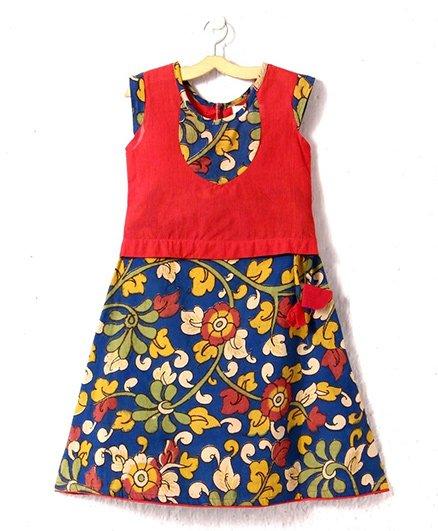 Petite Kids Kalamkari Skirt With Handloom Patch Work Top - Multicolor