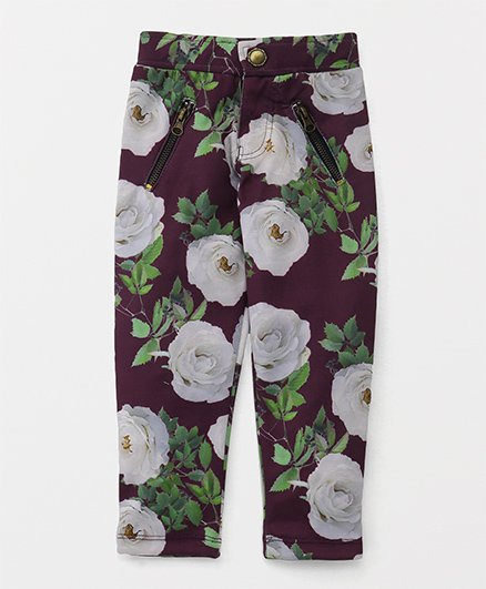 Button Noses Full Length Pants Floral Print - Purple