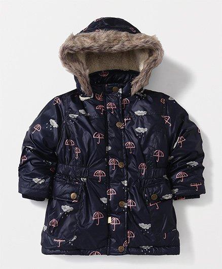 T.B.B. Umbrella Print Hoodie Jacket- Navy Blue