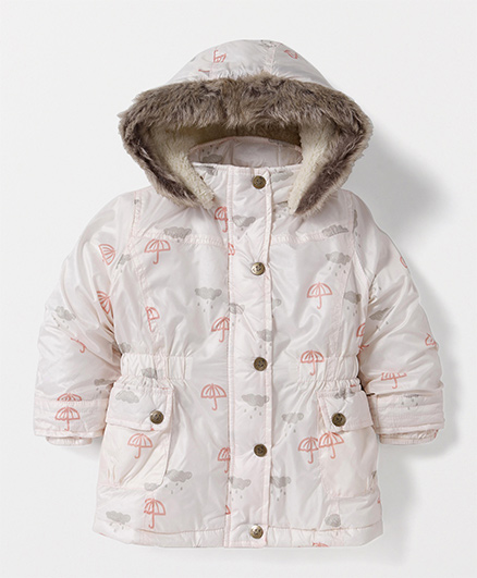 T.B.B. Umbrela Print Hoodie Jacket- Off White