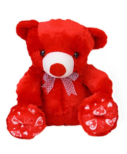Liviya Sitting Teddy Bear Soft Toy Red - Height 33 Cm