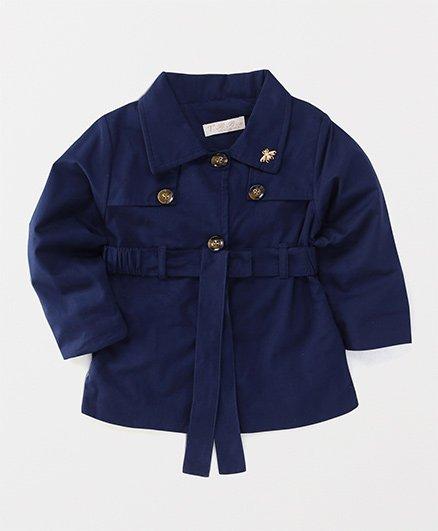T.B.B. Collared Jacket With Waist Belt - Navy Blue