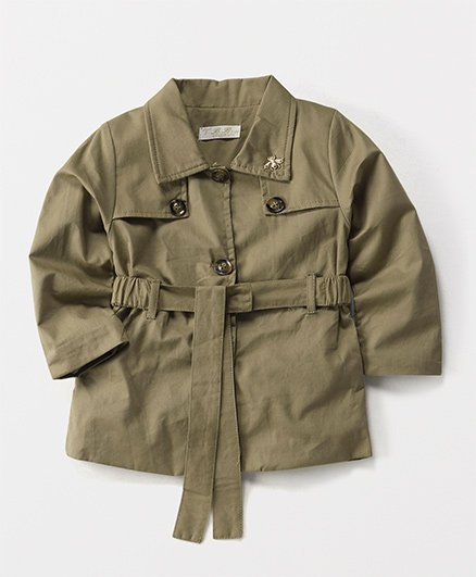 T.B.B. Collared Jacket With Waist Belt - Khaki Brown