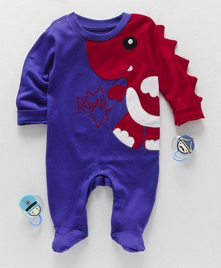 Moms Love Full Sleeves Romper Dino Embroidery - Purple