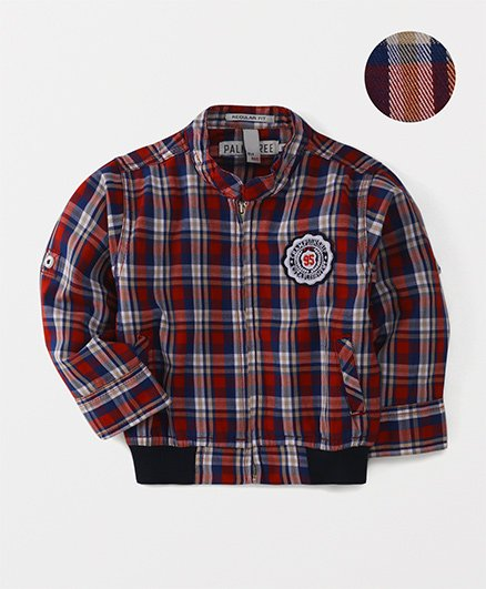Palm Tree Full Sleeves Check Shirt - Red
