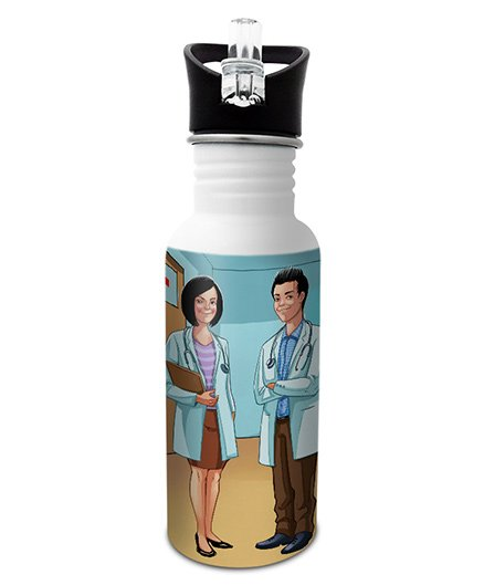 Hot Muggs Stainless Steel Water Bottle Wanna Be A Doctor Print Multi Colour - 600 ml
