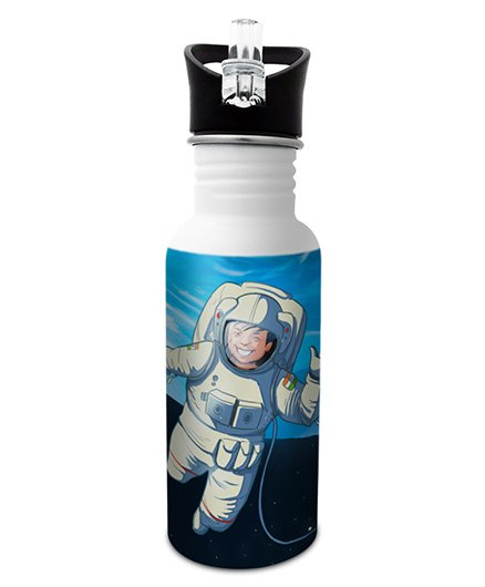 Hot Muggs Stainless Steel Water Bottle Wanna Be An Astronaut Print Multi Colour - 600 ml