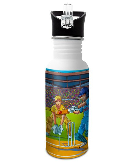 Hot Muggs Stainless Steel Water Bottle Wanna Be A Cricketer Multi Colour - 600 ml