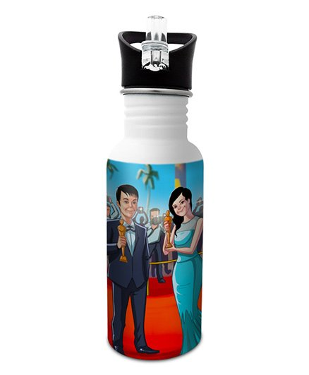 Hot Muggs Stainless Steel Water Bottle Wanna Be An Actor Print Multi Colour - 600 ml