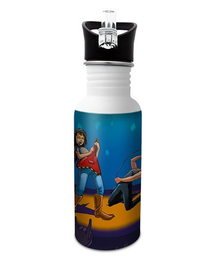Hot Muggs Stainless Steel Water Bottle Wanna Be A Rockstar Print Multi Colour - 600 ml