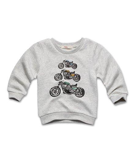 Fox Baby Full Sleeves Sweatshirt Bike Print - Grey