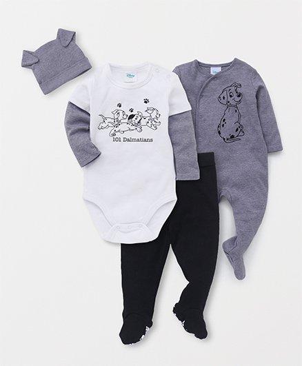 Fox Baby Full Sleeves Onesies & Romper With Bootie Legging & Cap Set - White Grey