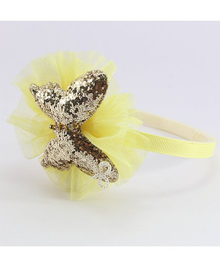 Pihoo Hair Band Butterfly Applique - Yellow