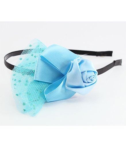 Pihoo Hair Band Rose Applique - Blue