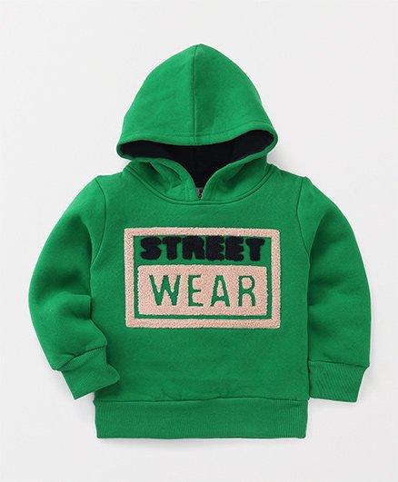 BaoBaoShu Street Wear Print Hoodie - Green