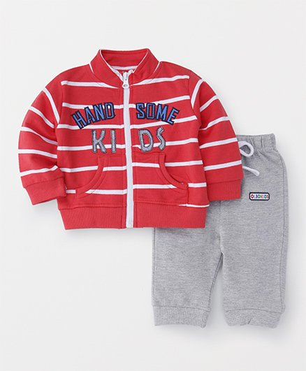 Olio Kids Full Sleeves Sweat Jacket & Track Pant - Red