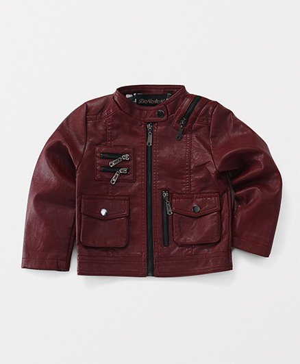 Yiyi Garden Zippered Jacket With Front Pockets - Maroon