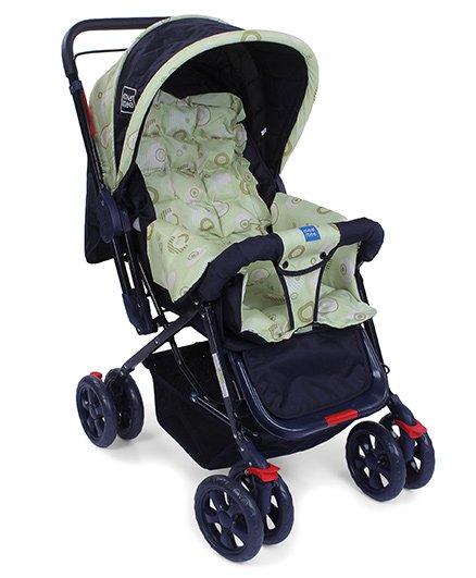 Mee Mee Baby Pram Cum Stroller With Reversible Handle Printed - Navy Blue