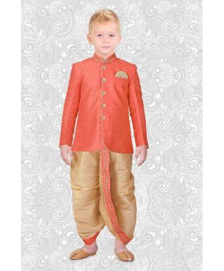 Ethniks Neu Ron Full Sleeves Kurta And Dhoti Set - Orange Beige