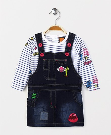 Little Kangaroos Dungaree With Striped Top - Dark Blue