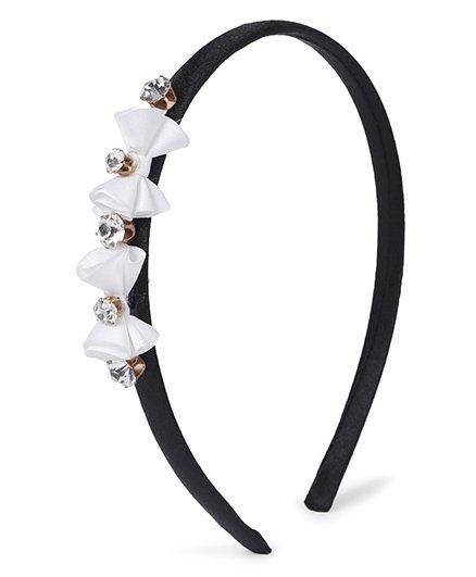 Stol'n Hair Band Rhinestone Bow Appliques - White Black