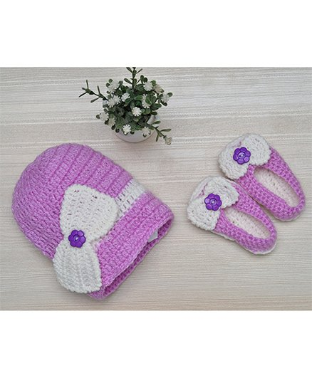 Beebop Crochet Cap And Booties Set Bow Applique - Purple White