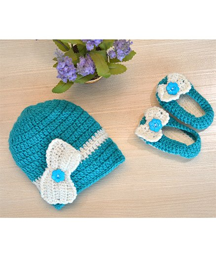 Beebop Crochet Cap And Booties Set Bow Applique - Blue White