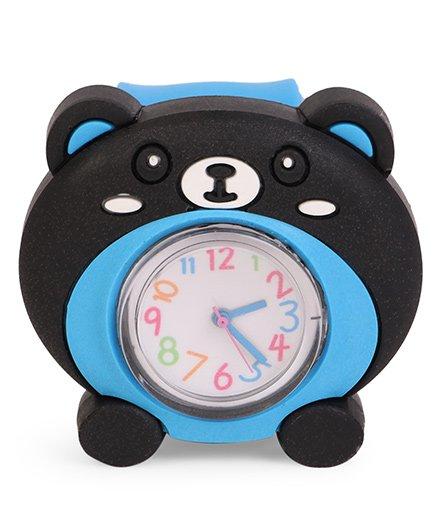 Analog Wrist Watch Bear Face Dial - Black & Blue