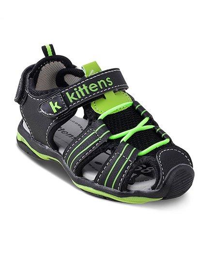 Kittens Closed Toe Sandals Velcro Closure - Black & Green