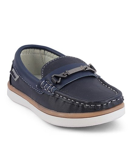 Kittens Slip On Loafers Contrast Stitch Detailing - Navy