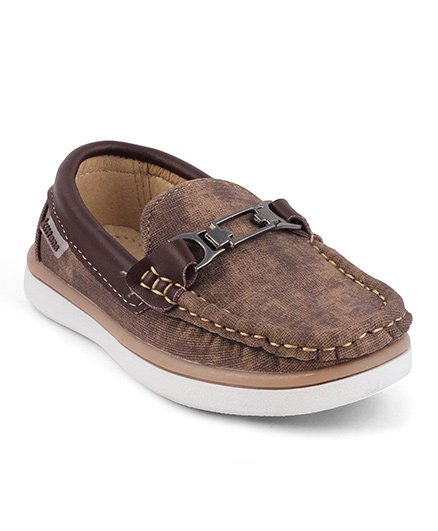 Kittens Slip On Loafers Stitch Detailing - Brown