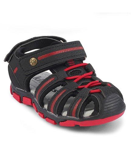 Kittens Closed Toe Velcro Closure Sandals - Black & Red