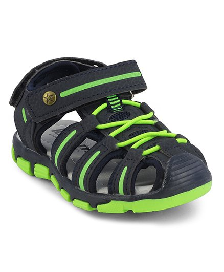Kittens Closed Toe Velcro Closure Sandals - Navy & Green