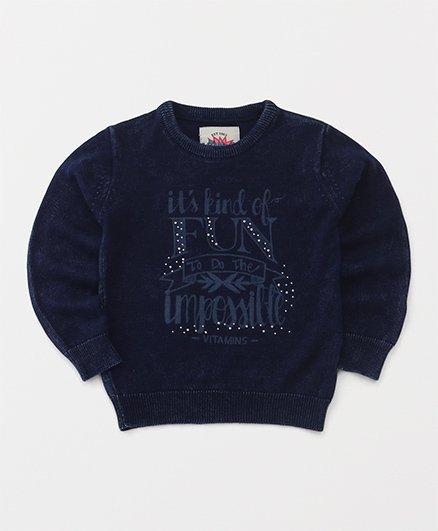 Vitamins Full Sleeves Sweatshirt Fun Print - Indigo Blue