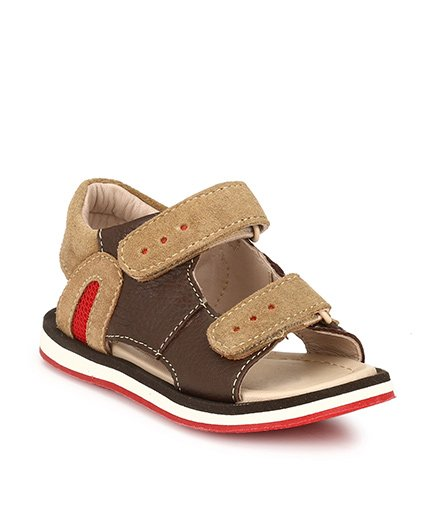 Tuskey Leather Sandals Velcro Closure - Brown
