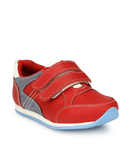 Tuskey Leather Shoes With Velcro Closure - Red