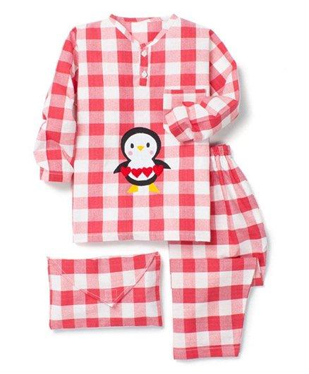Kidsclan Full Sleeves Check Night Suit Penguin Print - Red White