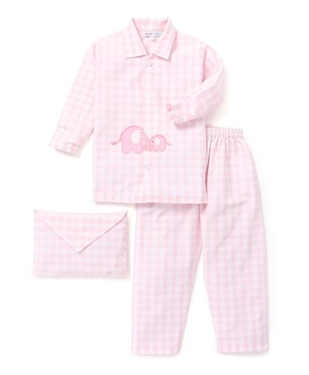 Kidsclan Full Sleeves Checks Night Suit Elephant Patch - Pink White
