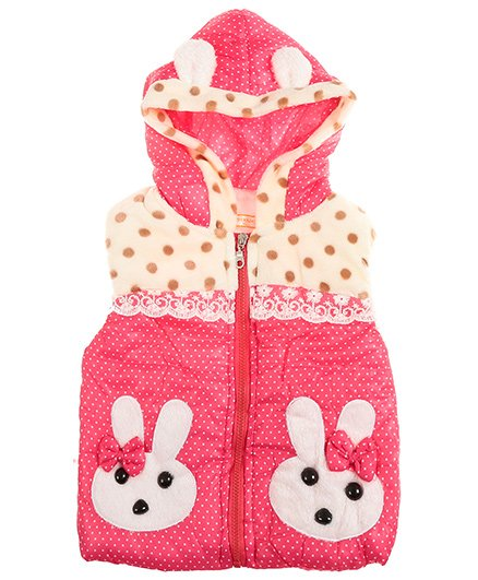 Zonko Style Buny Patch Hooded Baby Jacket - Pink