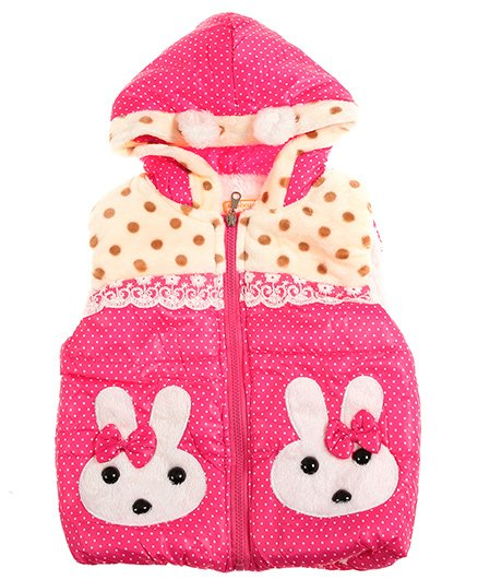 Zonko Style Buny Patch Hooded Baby Jacket - Dark Pink