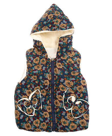 Zonko Style Flower Printed Hooded Baby Jacket - Dark Blue