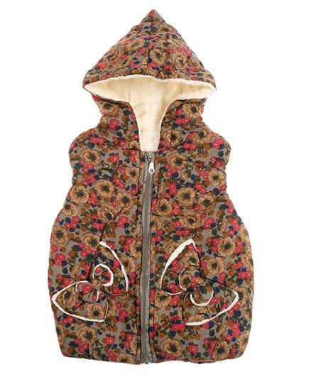 Zonko Style Flower Printed Hooded Baby Jacket - Brown