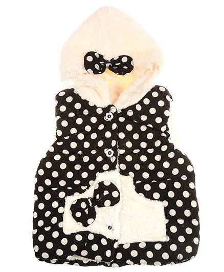 Zonko Style Polka Dot With Bow Applique Hooded Baby Jacket - Black