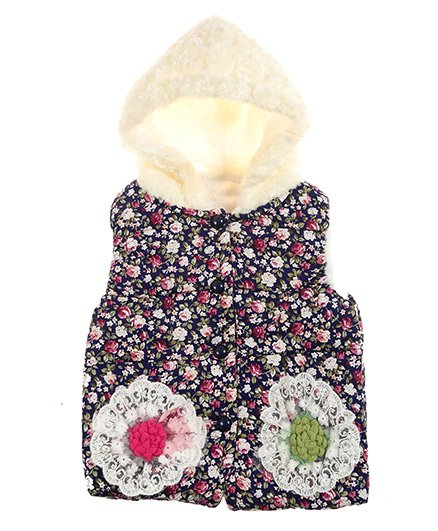 Zonko Style Floral Printed Patch Work Baby Jacket - Blue