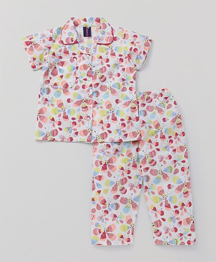 Enfance Core Butterfly Print Night Suit - Multicolor