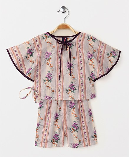 Enfance Core Floral Print Poncho Style Night Suit - Purple