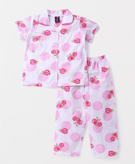 Enfance Core Rose Print Night Suit - Pink