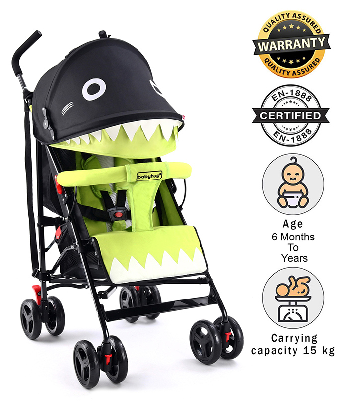 Babyhug Lil Monsta Stroller - Green & Black